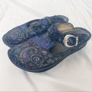 Alegria Leather Mary Jane Clog Black Swirl Pattern